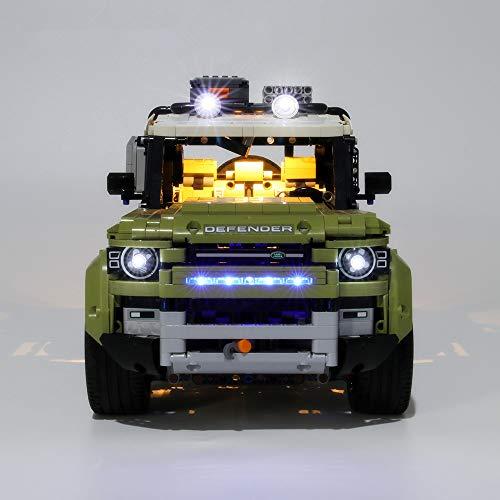 EDCAA LED Licht Up Kit Für Technic Land Rover Defender Off Road 4x4 Car Bausteine Beleuchtung Set Compatile Mit Lego 42110 (Nicht im Lieferumfang enthalten)