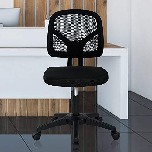 Office Chair Desk Chair Computer Chair Ergonomic Low Back Mesh Chair with Lumbar Support Armless Adjustable Height Swivel Rolling Task Executive Chair for Women Men Adult, Black