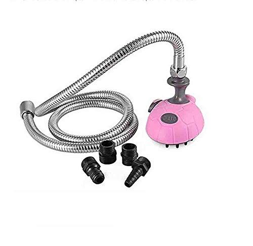 XIAOYA Multi-Functionele Hond Douche - Bad Massager Handheld Sprayer Shampoo Borstel Voor Honden En Katten Met 1,2 M RVS Slang, Binnen En Buiten Gebruik, Roze