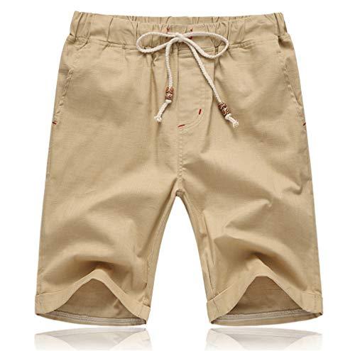 Tansozer Kurze Hosen Herren Shorts Sommer Bermuda Baumwolle Leinen mit Gummizug Taschen Khaki M