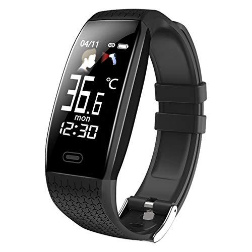 QKA Smartwatch, Temperatura Corporal Fitness Impermeable, con Recordatorio De Llamadas, Modo Deportivo, Deportes Deportivos para Hombres Y Mujeres para Android iOS,A