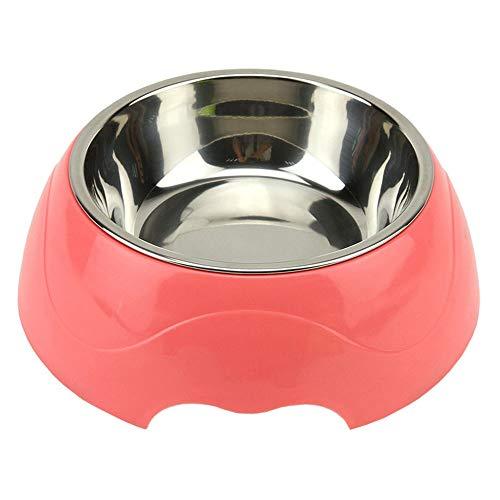 ZSLLO Hond Water Bowl RVS PP Base Bowls Voedsel Feeder Huisdier Voedsel Houder Milieuvriendelijk voor Honden Katten, Hond Vaatwasser, 3 maten, 3 Kleuren S roze