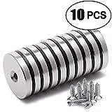 10 Stück Neodym Disc Senkkopf Loch Magnete, Stark Permanent Rare Earth Magnet mit 10 Schrauben für...