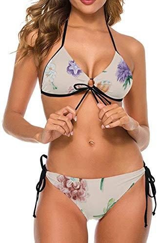my cat Damen Bikinis Set Krawatte Badeanzug Schmeichelhaftes Schwimmkostüm Tropischer Regenwald Orange Botanisches Dreieck Bikini-Tropi5-Medium