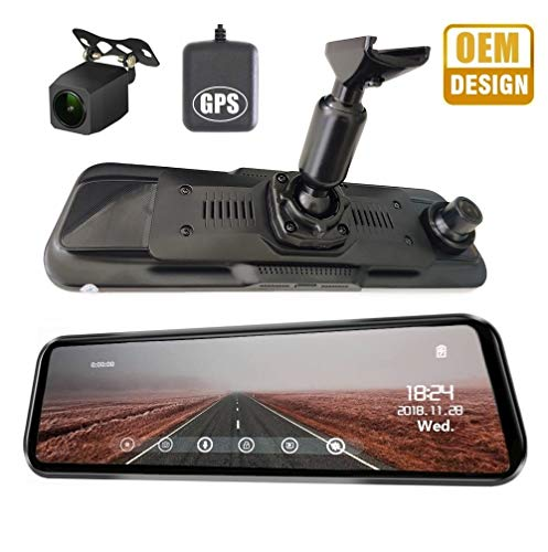 NikoMaku Mirror Dash Cam Front and Rear Backup Camera GPS Full Touch Screen Rear View Mirror Camera Full HD 1080P 170° Wide Angle Dual Lenses Waterproof AS-2 Plus