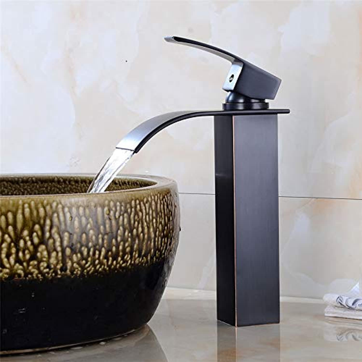 Decorry Waterfall Faucet Antique Bronze Bathroom Basin Faucet Brass Faucet Hot and Cold Bathroom Sink Mixer Taps Lavatory Mixer,Black Oil Tall