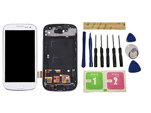 Flügel para Samsung Galaxy s3 i9300 i9305 Pantalla LCD Pantalla Blanco Táctil digitalizador Completo Pantalla (con Marco) de Recambio & Herramientas