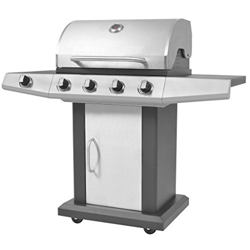 RIKOJ Gas Barbecue BBQ Grill 4 + 1 Cooking Zone Black and Silver