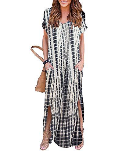 YOINS Sommerkleid Damen Lang Maxikleider für Damen Strandkleid Sexy Kleid Kurzarm Jerseykleider Strickkleider Rundhals mit Gürtel...