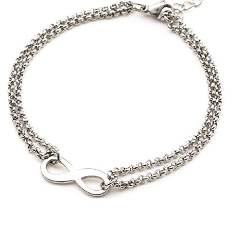 Heideman Armband Damen Infinity Armband aus Edelstahl silber farbend poliert Armkette für Frauen mit Verlängerung Unendlichkeits Symbol Liebe Freundschaft