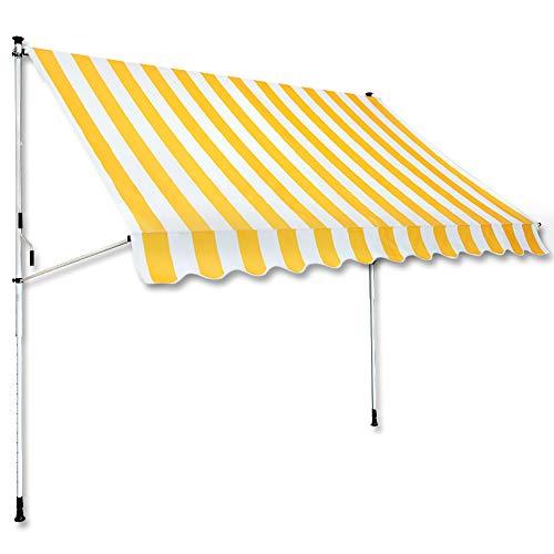 Jawoll Klemm-Markise 3,0 x 1,5 m gelb-weiß (Profilfarbe: Weiß) Sonnenschutz