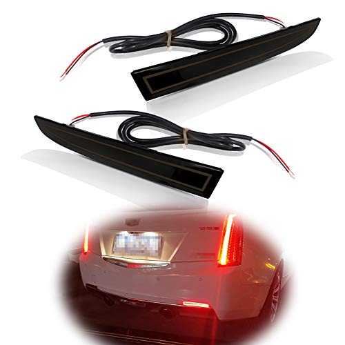 Miniclue Smoked Lens Full LED Tail Brake Rear Fog Lamps Bumper Reflector Lights Compatible with 2016-2020 Camaro Traverse Cadillac ATS XT5
