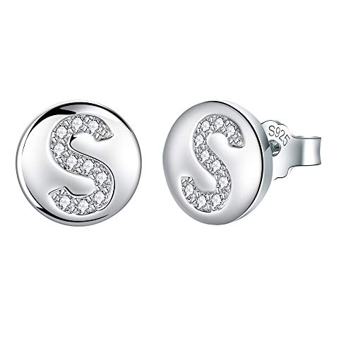 J.Endéar Initial Letter S Stud Earrings for Women Girls, 925 Sterling Silver Cubic Zirconia Earrings, Small Disc Alphabet Studs Customize Christmas Gifts