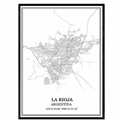 La Rioja Argentina Mapa de pared arte lienzo impresión cartel obra de arte sin marco moderno mapa en blanco y negro recuerdo regalo decoración del hogar
