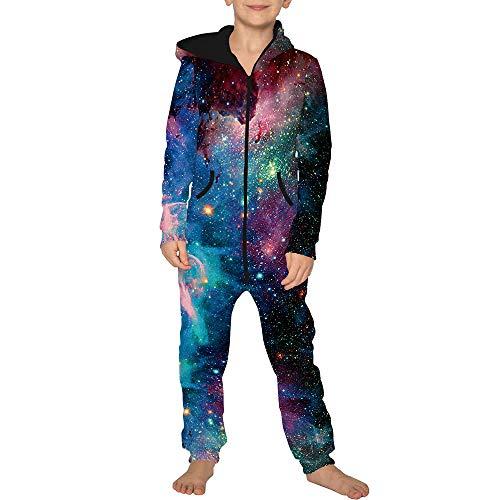 Jumpsuit Jogger für die Ganze Familie, Morbuy Unisex Junge Mädchen Kapuzenpullover Strampelanzug 3D Sternenklarer Himmel Printed Onepiece Sweatshirt Strampler Nachtwäsche (L(145-150cm),Star)
