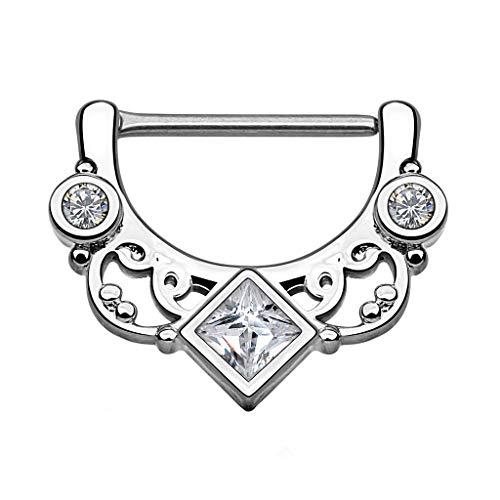 Piercingfaktor Brustpiercing Brustwarzen Intimpiercing Nippelpiercing Barbell Intim Nippel Brust Piercing Clicker Ring Tribal Kristall Quadrat Silber