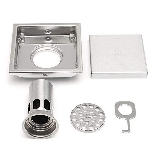 PIJN Bodenablauf 304 Edelstahl-Quadrat-Dusche-Abfluss-Sieb Badezimmer Dusche Bodenablauf (Color : Silver, Size : 110x110mm)