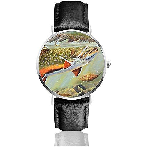 Relojes de Pulsera Unisex Brook Trout Fish (1) Correa de Cuero de PU Reloj de Moda para Hombres Mujeres