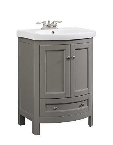 RunFine RFVA0069 Vanity with Vitreous China Top, One Drawer and Cabinet and Doors, Walnut Finish