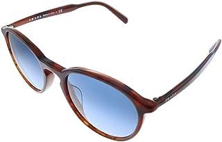 Prada PR 05XSF 5497 Tortoise Plastic Oval Sunglasses Blue Gradient Lens