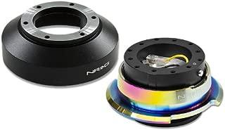 NRG-SRK-141H+280BK-MC, NRG Innovations Steering Wheel 6-Hole Aluminum Ball Bearing Short Hub Adapter with Gen 2.8 Neo Chrome Black Quick Release SRK-141H