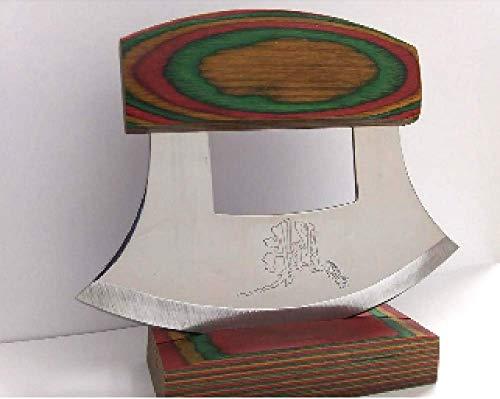Exotic Wood Ulu Messer und Ständer mit Griff, mehrfarbig