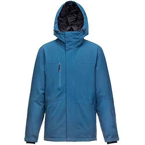 33000ft Skijacke Herren Warme Outdoorjacke Wasserdicht Winddicht Winterjacke Funktionsjacke Atmungsaktiv Snowboardjacke Softshell Jacke mit Kapuze Blau L