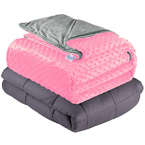 Quility Premium Cotton 60 by 80 in for Full Size Bed 20 lbs Adult Weighted Blanket Light Grey with Removable Duvet Cover Pink