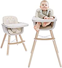 3-in-1 Baby High Chair with Adjustable Legs, Tray -Cream Color Dishwasher Safe, Wooden High Chair Made of BPA-Free Plastic, Sleek Hardwood & Premium Leatherette, Ideal for Small Apartment