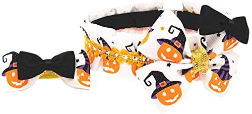 CNMYDZ 30cm Perro Mascota Halloween patrón Collar Perro Halloween Collar Cuello Pet Bowknot Collar Collares Personalizados con Clip de Pelo (Size : M)