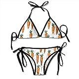 Conjunto de Bikini de Manojo de Zanahorias para Mujer Trajes de baño Ajustables de Dos Piezas Traje de baño Sexy Negro