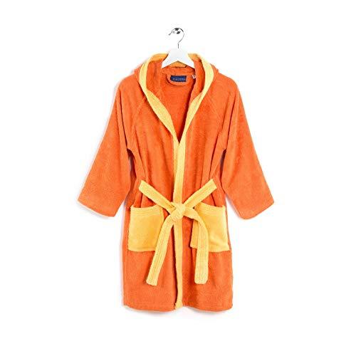 Viglietti Caleffi Peignoir pour enfant en tissu éponge double torsadé 100 % coton 400 g/m² – Boîte cadeau – (12/14 ans Orange)