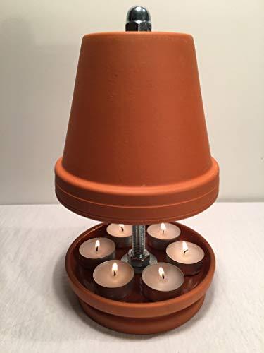Hornet-Products TLO-2-27/16-6er-Teelichtofen, Kerzen, Teelichtheizung, Teelichtkamin, Feuerschale, Terrakotta, Steingut, Teelichter und Feuerzeug Gratis!