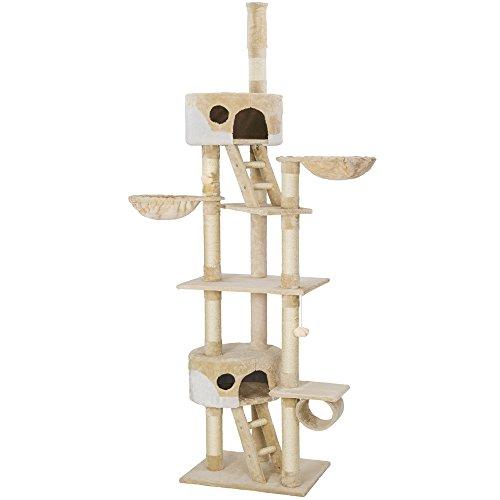 TecTake Kratzbaum Katzenbaum für Katzen - deckenhoch (höhenverstellbar von 240-260cm) - Diverse Farben - (Beige-Weiß   Nr. 401639)