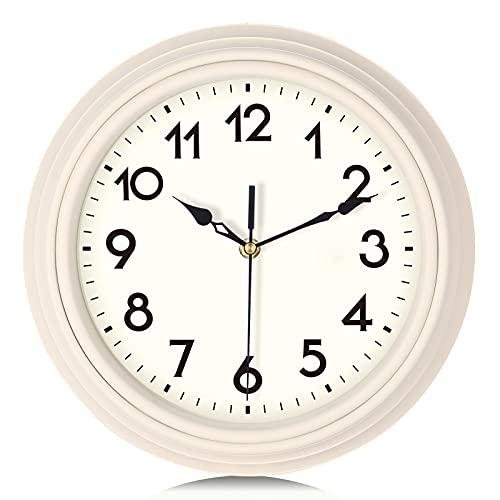 Lafocuse Reloj de Pared Blanco Beige Retro Vintage Silencioso 30 cm Redondo Números Arábigos sin Tic TAC Reloj de Cuarzo para Cocina Salon Oficina