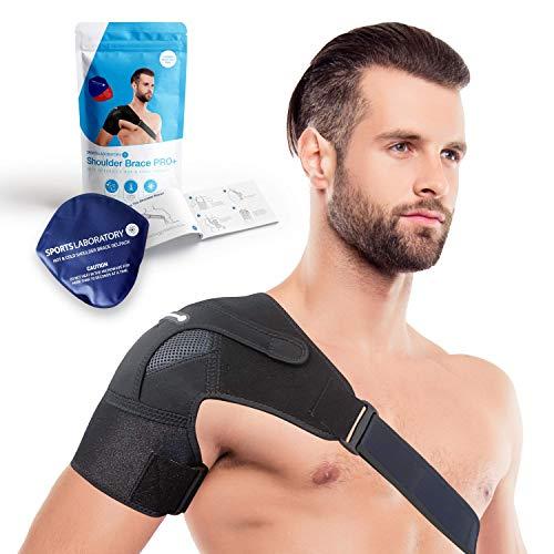 Sports Laboratory Schulterbandage mit Warm und Kalt Kompresse - Geeignet für Schultersteife, Rotatorenmanschette und Verstauchungen - Verstellbare Passform für Männer und Frauen
