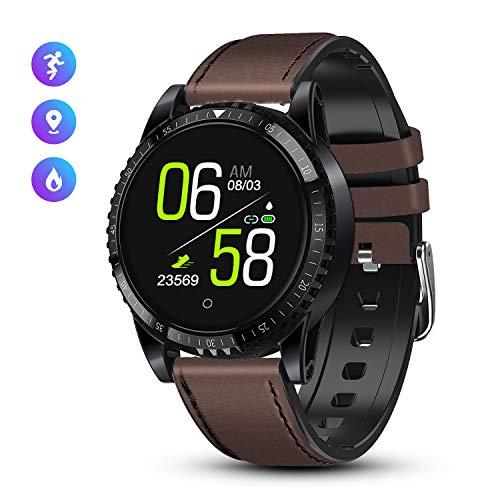 GOKOO Smartwatch Herren Männer Bluetooth Fitness Activity Tracker Uhr mit Pulsmesser IP67 Uhr Sport Armbanduhr Leder für Android iOS (Dunkelbraun)