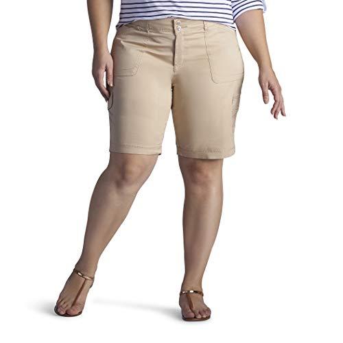 Lee Women's Plus Size Relaxed-Fit Avey Knit-Waist Cargo Bermuda Short, Café, 18W Medium