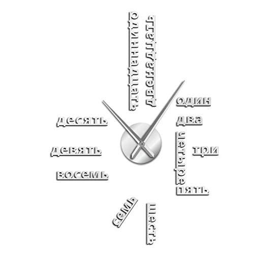 ZYZYY 47inches vreemde taal DIY reus muur klok grote Sovjet-Russische nummers grote klok horloge babykamer voorschoolse decoratie Russische horloge