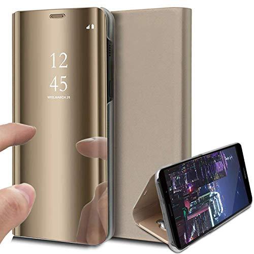 iPhone 12 pro max Hülle, Clear View Hülle Leder Flip Spiegel Handyhülle 360-Grad-Schutz mit Standfunktion Ledertasche Stand Handytasche Schutzhülle 6.7 Zoll (Gold)