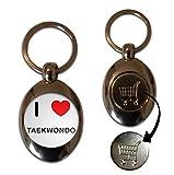 I Love Heart Taekwondo - Llavero de fichas de Monedas de Metal de 1 £ / 1 €