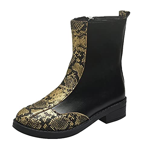 DKBL Boots for Women Fashion Thick Heel Ankle Boots Stitching Snake Print Short Boots Round Toe Leather Boots Gold