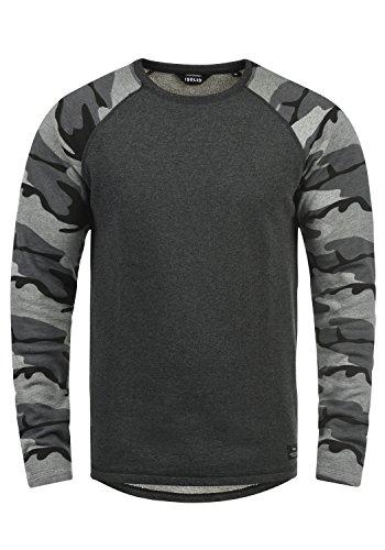 !Solid Cooper Herren Sweatshirt Pullover Pulli Baseball-Sweatshirt Mit Rundhals Und Camouflage-Ärmeln Aus 100% Baumwolle, Größe:L, Farbe:Dark Grey Melange (8288)