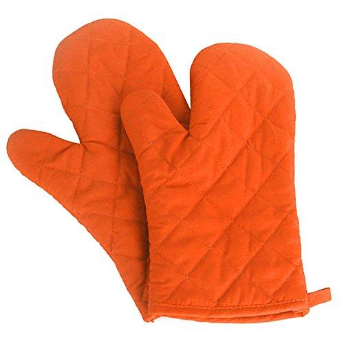 SGerste 1Paar Küche Handschuhe Backen Kochen Baumwolle Handschuh Mikrowelle hitzebeständig Handschuhe Fäustlinge Orange