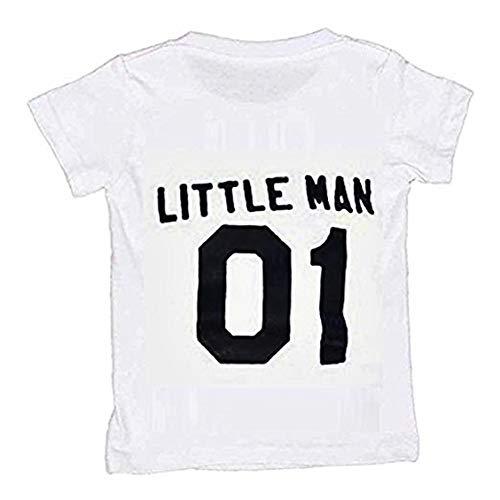Suéter de papá e Hijo - Ropa Familiar - coordinada - Camiseta - Hombre Grande - Hombre pequeño - Hombre Grande - Hombre pequeño - 01 - Blanco - 3/4 años - 100 cm y cumpleaños