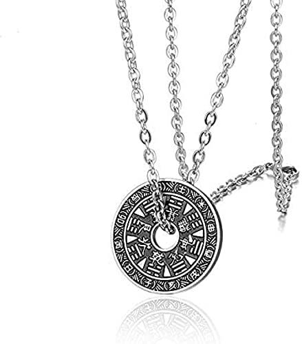 TTDAltd Collar Retro Círculo Colgante Seis Palabras Buda Mantra Chismes Yin Yang Collar De La Suerte para Hombres Niño Amuleto Joyería Masculina Acero Inoxidable