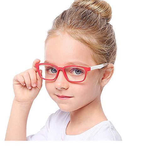Suertree Anti Blaulicht Brille Kinder Blaulichtfilter Gläser für Computer,TV,Online-Unterricht Brillengestell red frame