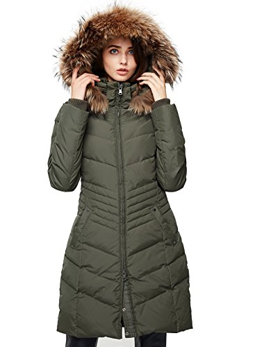 Escalier Women's Down Jacket Winter Long Parka Coat with Raccoon Fur Hooded