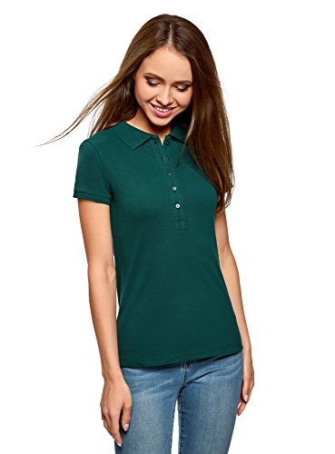 oodji Ultra Damen Pique-Poloshirt Basic , Farbe - Grün (6E00N) , Gr. XS