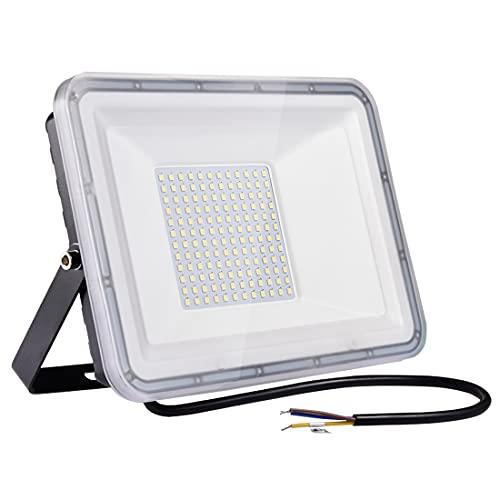100W LED Strahler Außen, IP67 Wasserdicht LED Fluter, Superhell 8000LM Außenstrahler, 6500K Kaltweiß LED Scheinwerfer Flutlicht für Garten, Innenhöfe, Werkstatt, Garage, Hinterhof, Auffahrt